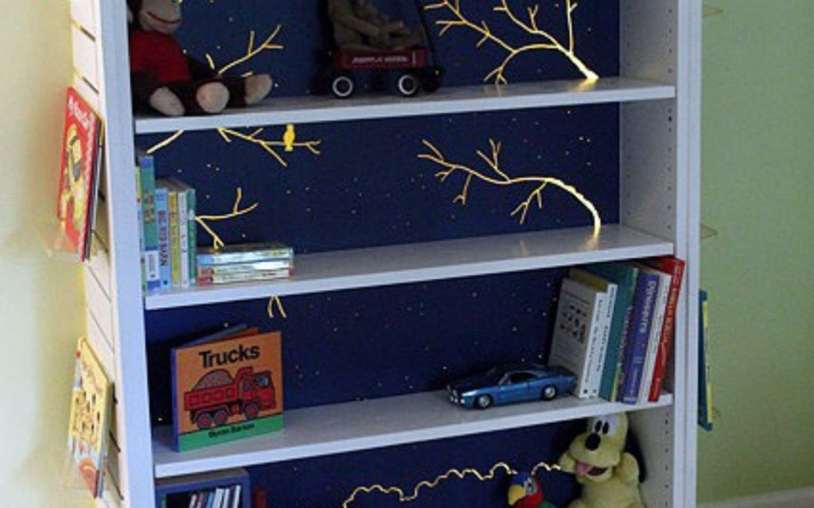 s stop everything these bookshelf redos are ah mazing, shelving ideas, storage ideas, Transform two units into nightlight bookcases