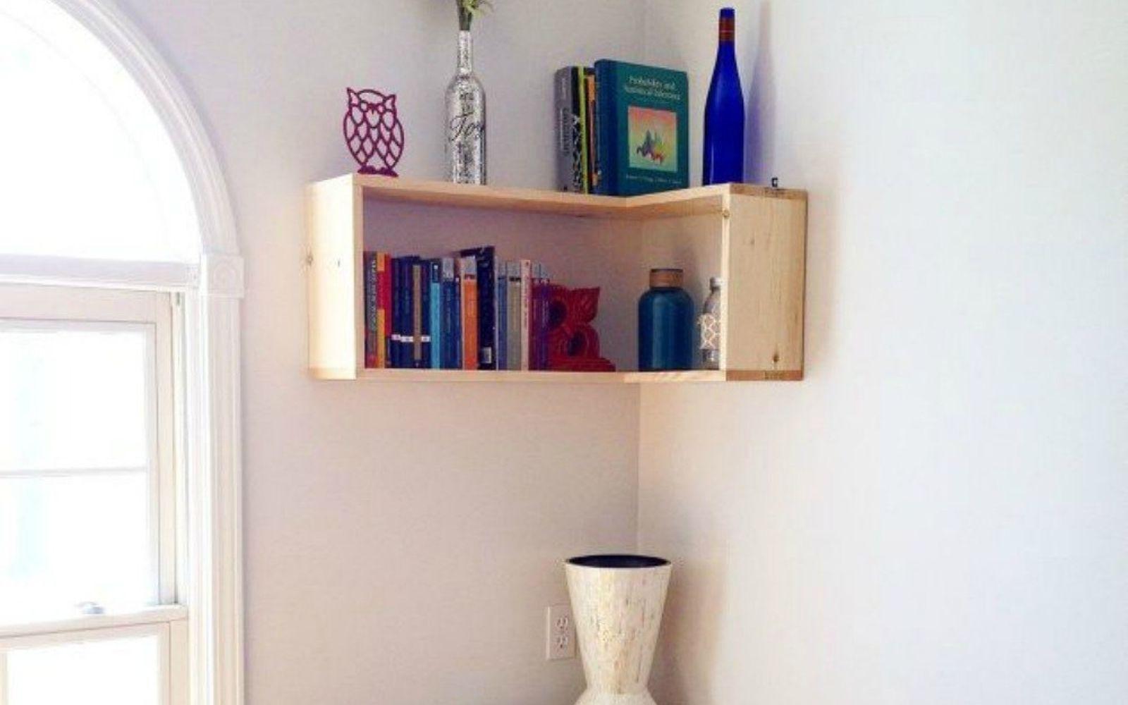 s stop everything these bookshelf redos are ah mazing, shelving ideas, storage ideas, Mount corner bookshelves using 9 boards