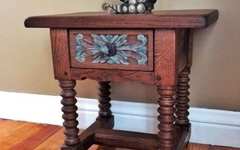 Detailed Oak Accent Table - Refinish