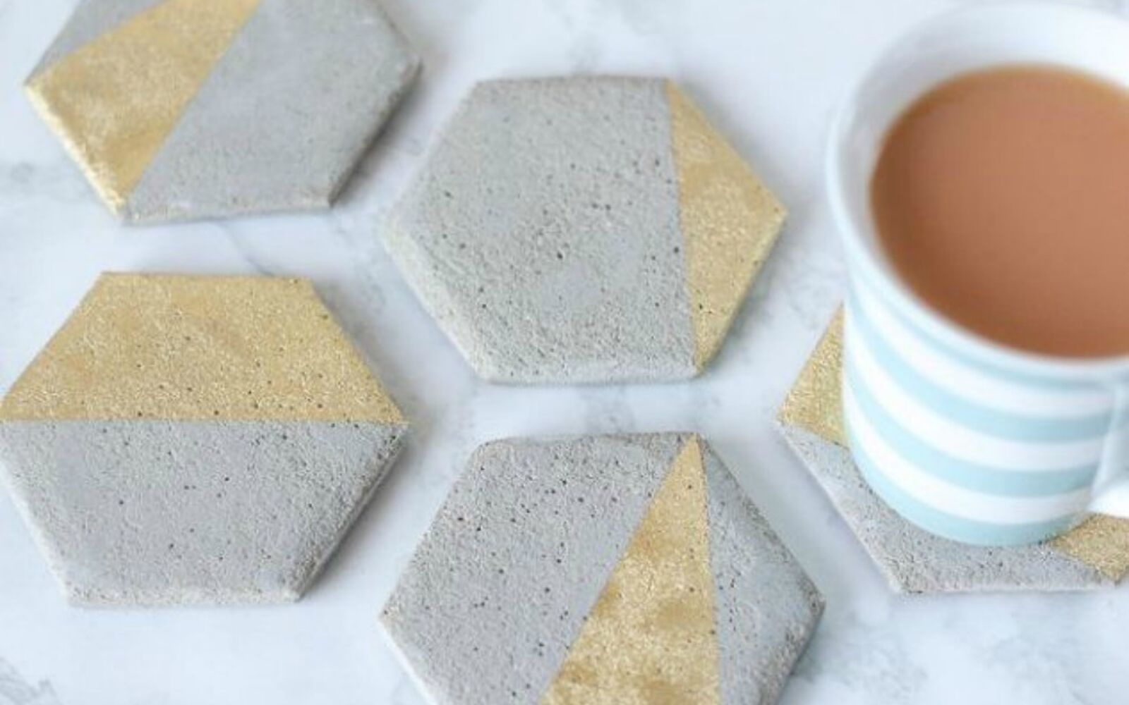 s 14 stunning ways to add cement to your home decor, concrete masonry, home decor, Make it into cool hexagon coasters