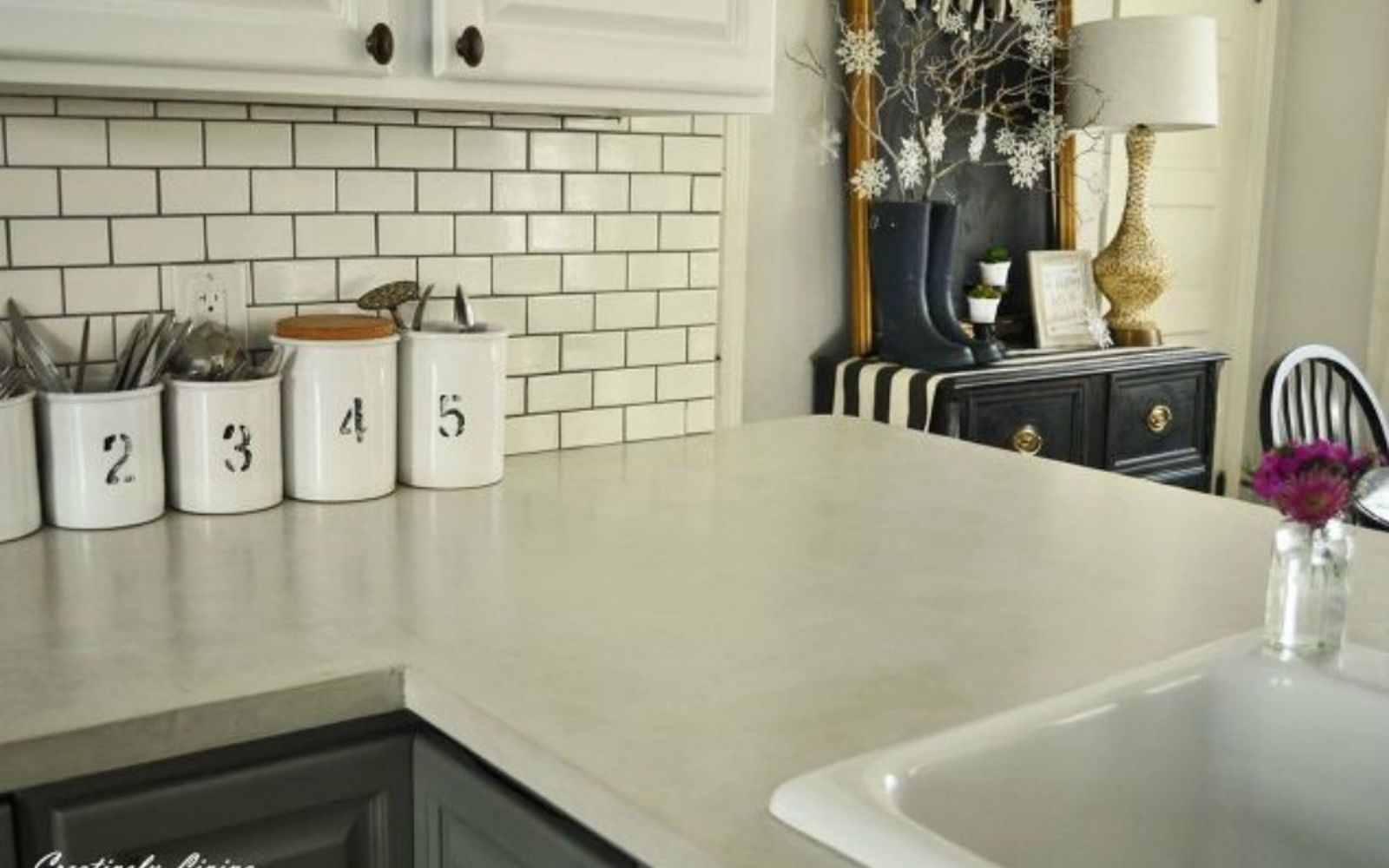 s 14 stunning ways to add cement to your home decor, concrete masonry, home decor, Overlay it on your countertop