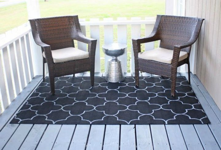 s 12 easy ways to upgrade your rug in less than 2 hours, reupholster, Turn a cheap rug into an outdoor beauty