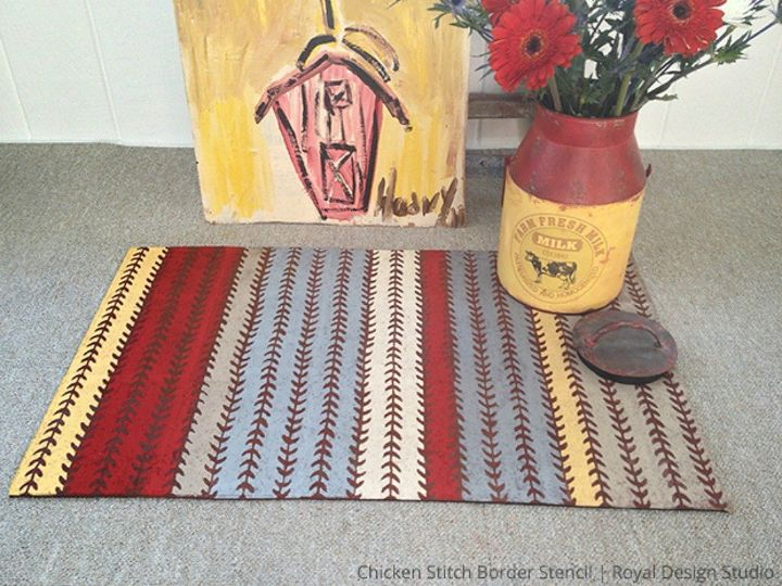 s 12 easy ways to upgrade your rug in less than 2 hours, reupholster, Turn an outdated mat into a fun welcome sign