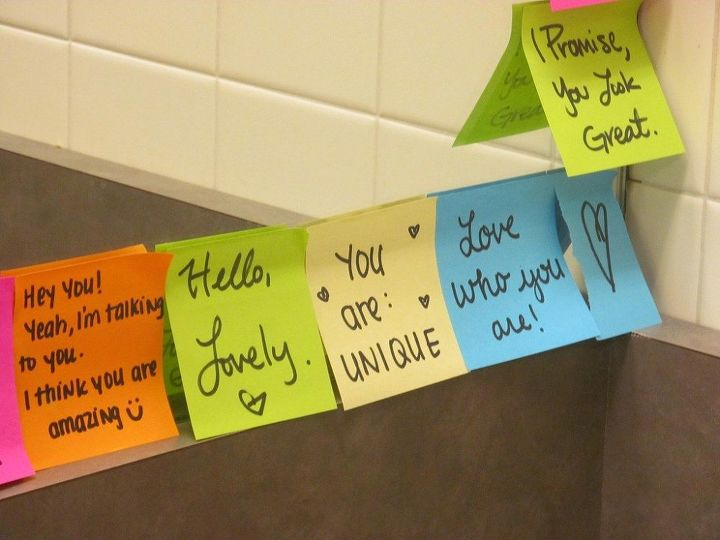 q put a sweet note in the bathroom for him to find first thing in mornin, bathroom ideas