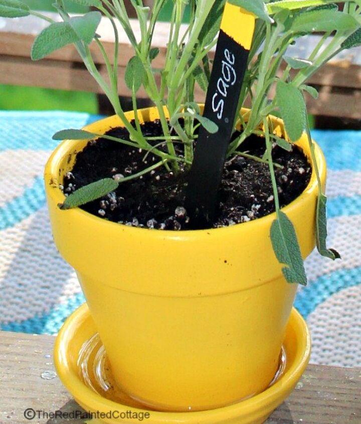 chalkboard herb plant markers, chalkboard paint, crafts, gardening