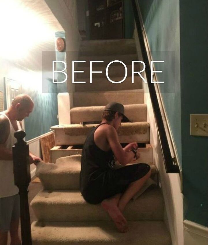 s say goodbye to your carpet stairs with these brilliant transformations, stairs, reupholster, Before A boring plain jane staircase