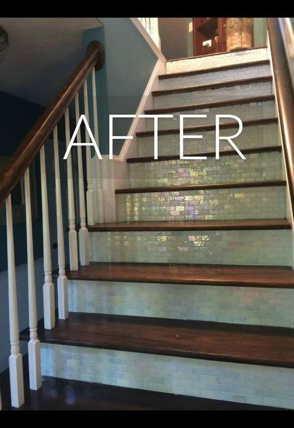 s say goodbye to your carpet stairs with these brilliant transformations, stairs, reupholster, After Gleaming and sparkly stairs