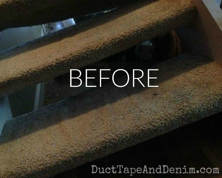 s say goodbye to your carpet stairs with these brilliant transformations, stairs, reupholster, Before Dirty and dusty stairs