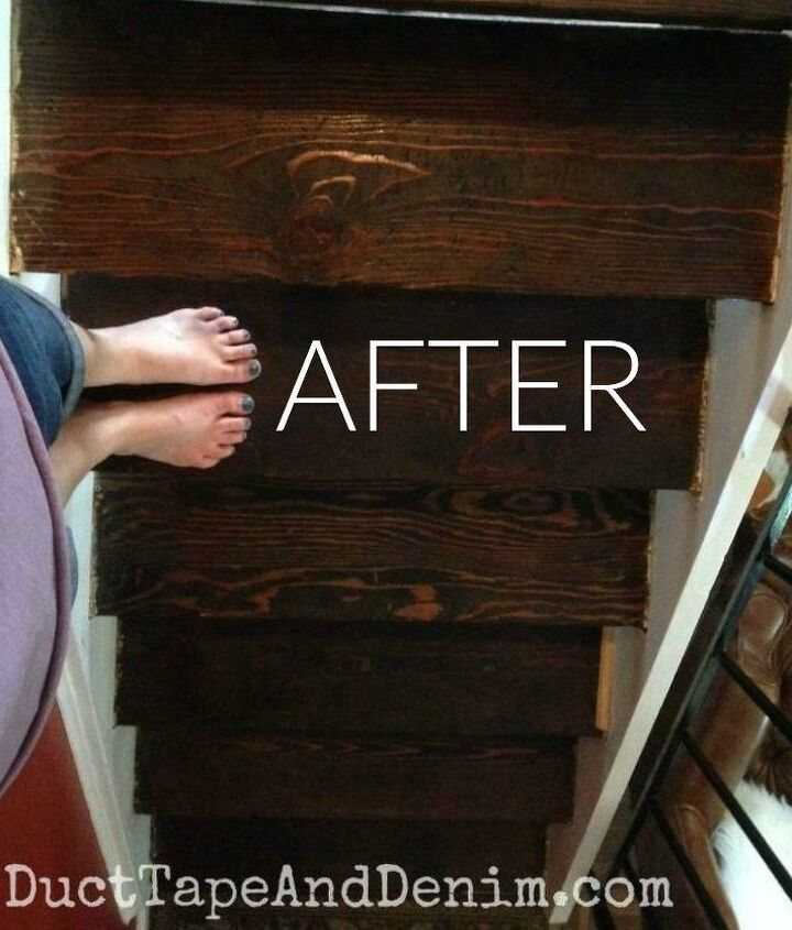 s say goodbye to your carpet stairs with these brilliant transformations, stairs, reupholster, After Dark stained natural wood