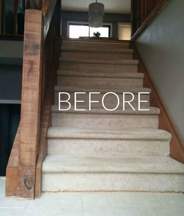 s say goodbye to your carpet stairs with these brilliant transformations, stairs, reupholster, Before Old and dingy ivory stairs