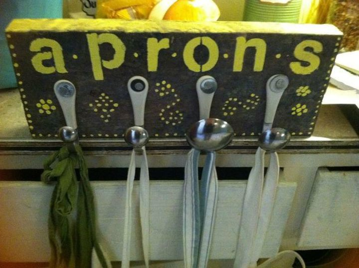 s add more kitchen space with these 13 brilliant hook hacks, kitchen design, Or do the same to your spoons for aprons