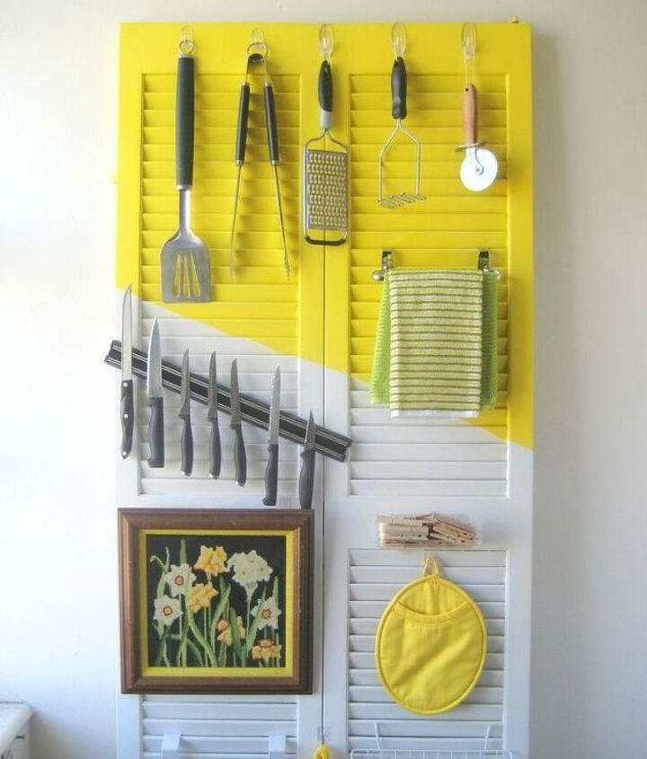 s add more kitchen space with these 13 brilliant hook hacks, kitchen design, Spray paint an old shutter door add hooks