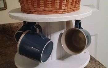 make a coffee station out of a small cable wire spool, painted furniture