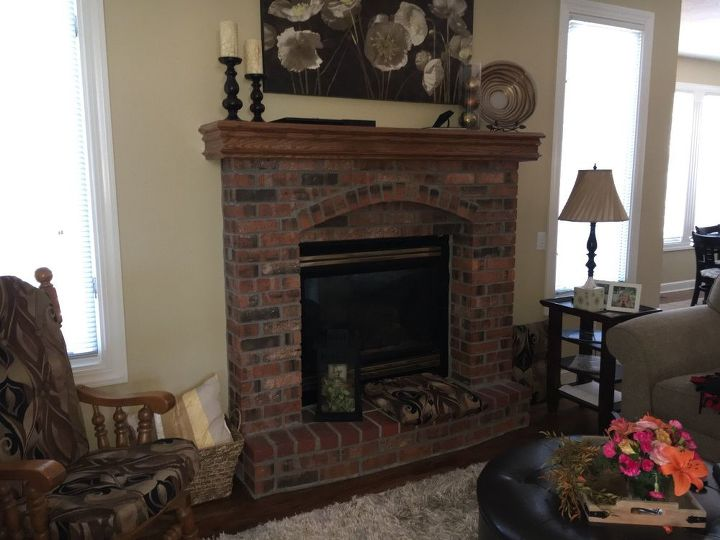 q any suggestions for an update on pictured fireplace, fireplaces mantels