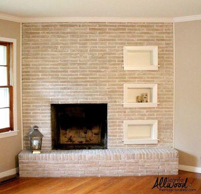 Painted Brick Fireplace Concrete Masonry Fireplaces Mantels