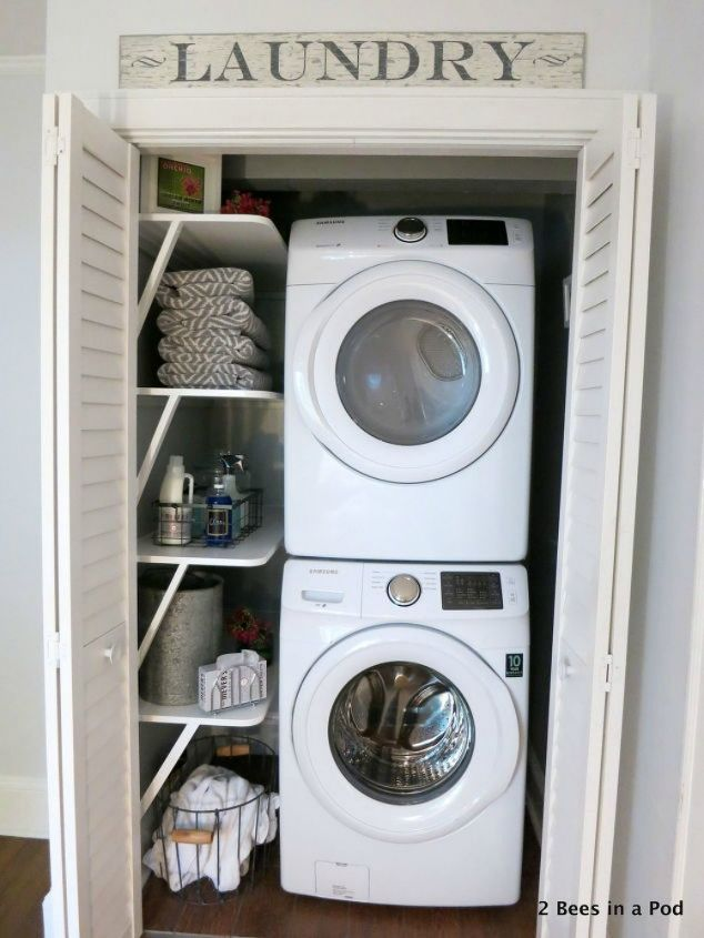 s 11 ways to update your dark and dingy laundry room for under 100, laundry rooms, Add some extra shelves with brackets