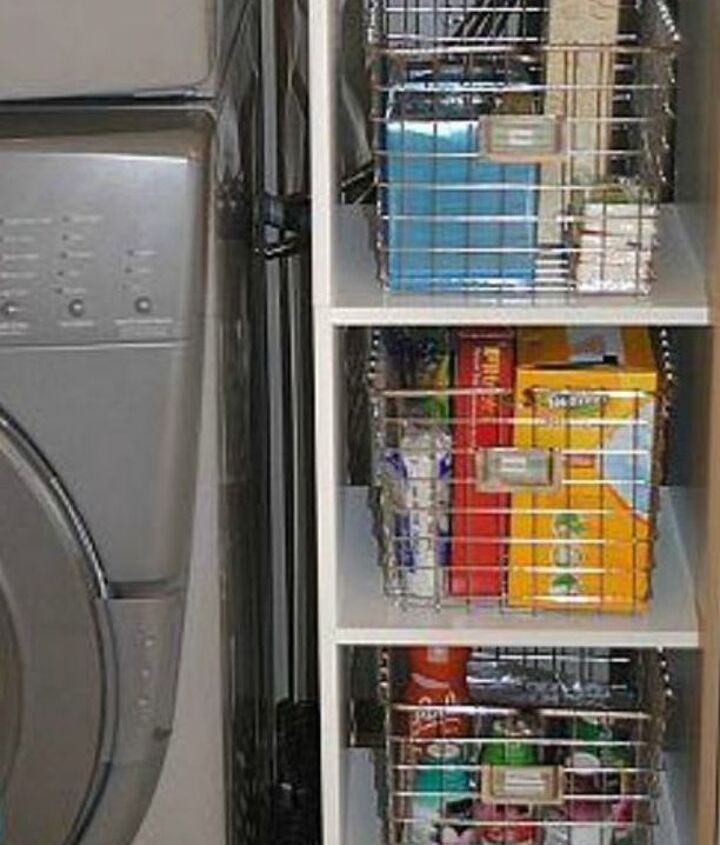 s 11 ways to update your dark and dingy laundry room for under 100, laundry rooms, Keep everything in wired baskets