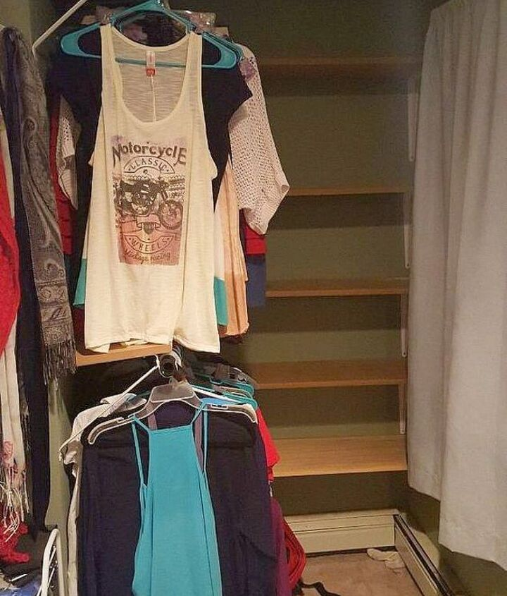 s 14 amazing ways brackets made homemade shelving fun, shelving ideas, Use plastic brackets to hold your hangers