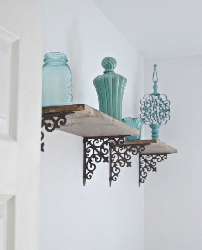 s 14 amazing ways brackets made homemade shelving fun, shelving ideas, Add a vintage look with cast iron brackets