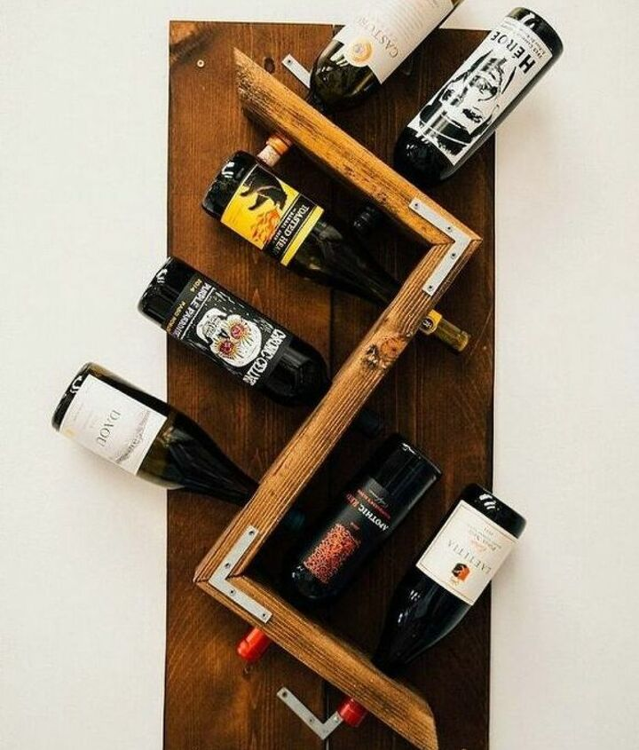 s 14 amazing ways brackets made homemade shelving fun, shelving ideas, Grab L Shaped brackets to for a wine rack