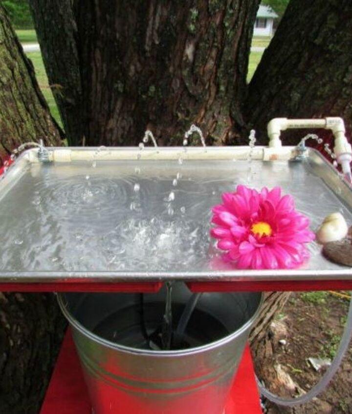 s 14 amazing ways brackets made homemade shelving fun, shelving ideas, Create a birdbath out of metal brackets