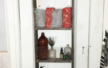 Repurposed Ladder Into Shelf