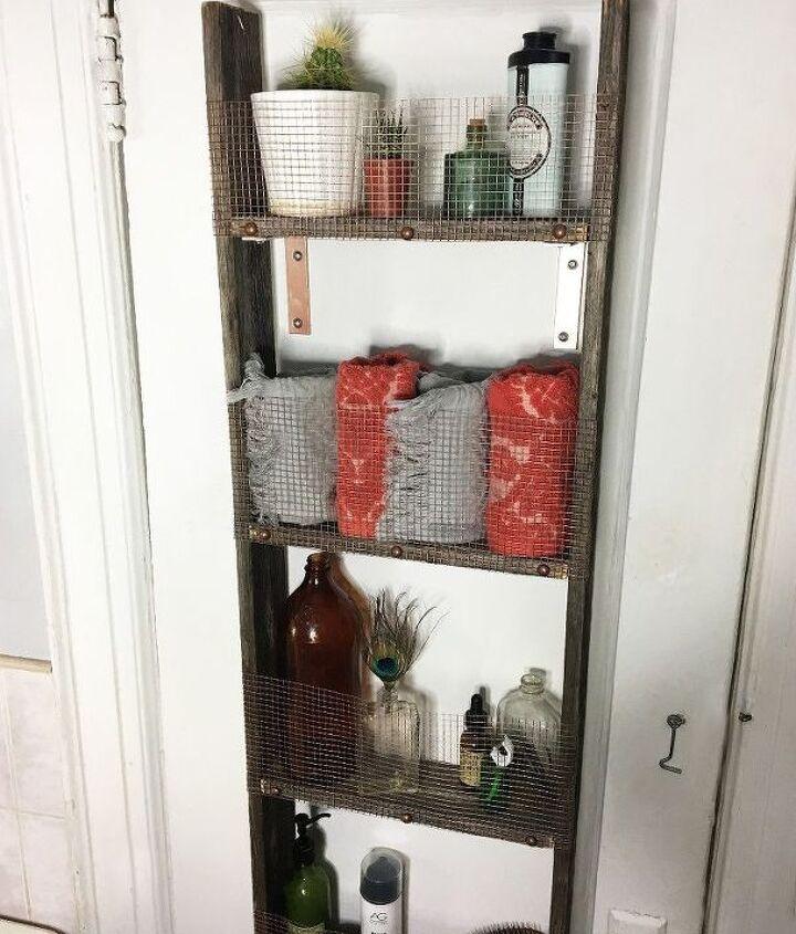 repurposed ladder into shelf, shelving ideas