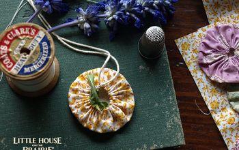 lemon verbena feedsack inspired potpourri sachets, Finish and stuff your fabric yo yo