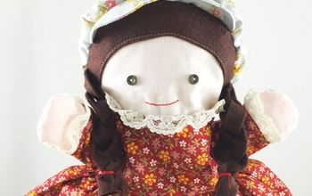 rag doll puppet inspired by little house on the prairie, Gorgeous doll with button eyes