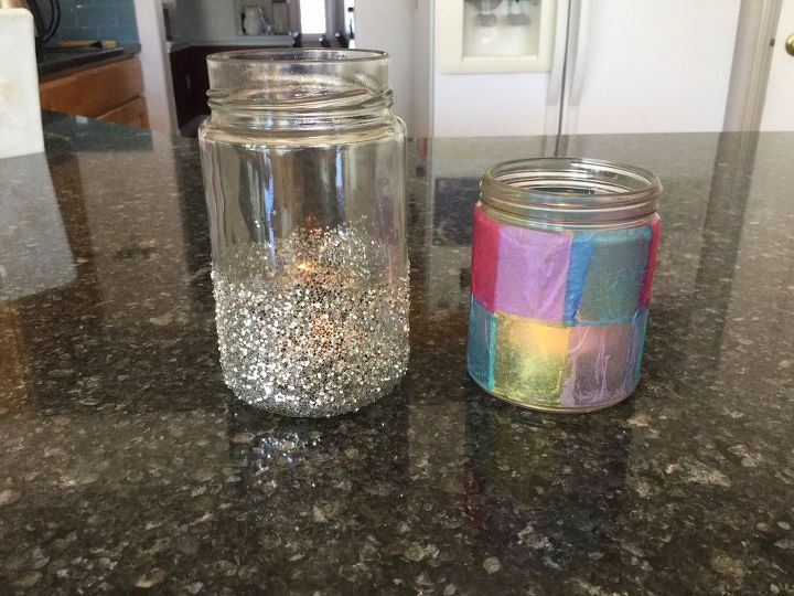 upcycle jars to candle holders 2 options