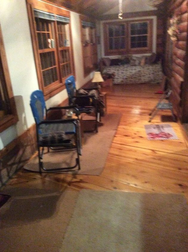 q any ideas how to decorate our narrow 3 season porch on our log cabin, how to