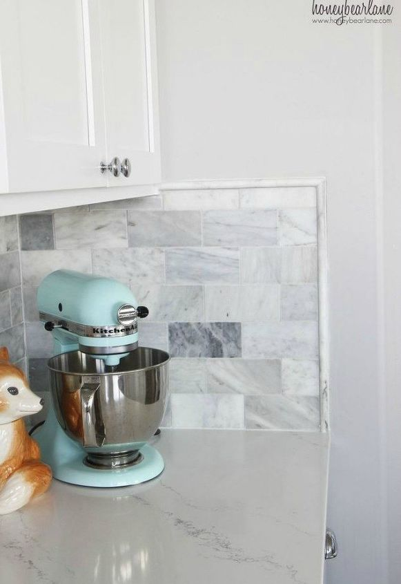 s 15 cheap and simple ways to add luxurious marble in your home decor, flooring, home decor, tiling, Show off marble in your kitchen backsplash