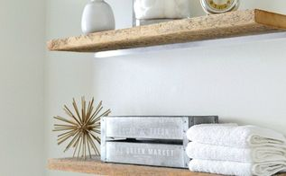 diy faux floating barn wood shelves, outdoor living, shelving ideas