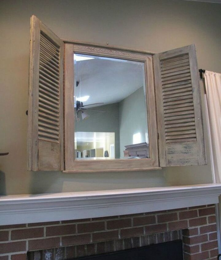 s transform your standing mirror with these 11 stunning ideas, home decor, Upcycle an old shutter into a mirror frame