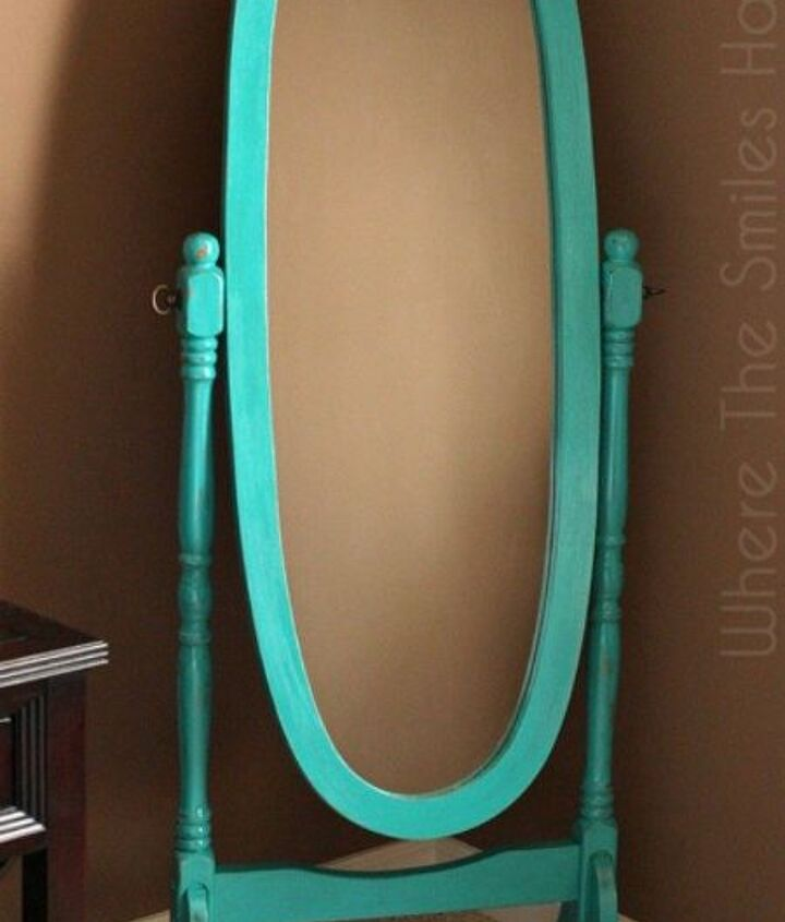 s transform your standing mirror with these 11 stunning ideas, home decor, Paint it a bright color with etched letters