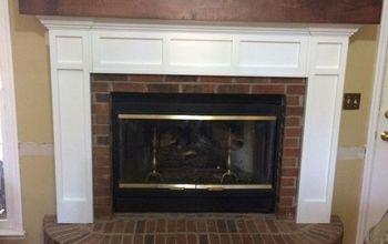 i love my updated brick fireplace, concrete masonry, fireplaces mantels, New fireplace before decor