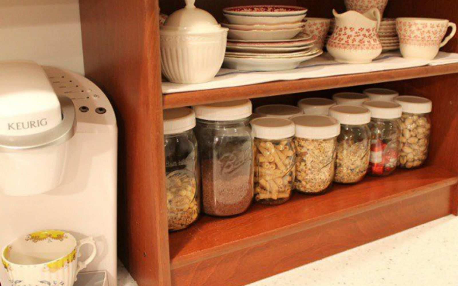 s get rid of kitchen countertop clutter with 13 clever mason jar ideas, countertops, kitchen design, mason jars, organizing, Organize your pantry and dry goods
