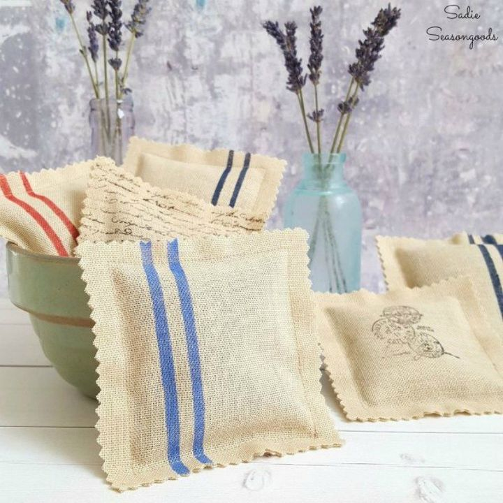 s save those torn curtains for these 11 brilliant ideas, home decor, window treatments, Cut them into french grain inspired sachets