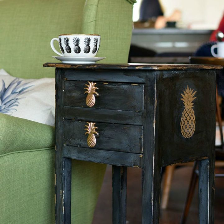 s 15 easy tricks to give your furniture that gorgeous distressed look, painted furniture, Add chippiness to a pineapple end table