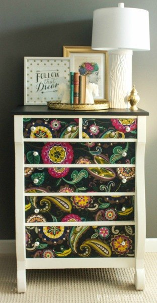 s get the bedroom of your dreams with these awesome fabric ideas, bedroom ideas, reupholster, Decoupage your dresser into a stand out piece