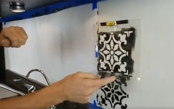 how to stencil a faux tile backsplash, how to, kitchen backsplash, kitchen design