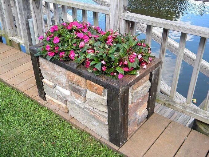 diy faux stone raised planter, concrete masonry, gardening
