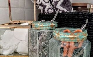 faux cracked glass jars