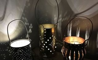 tin can lanterns, outdoor living