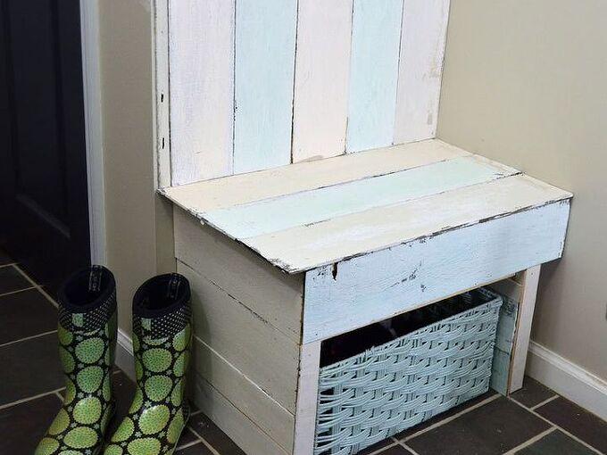 diy pallet wood entry bench with shoe storage, outdoor furniture, pallet, storage ideas