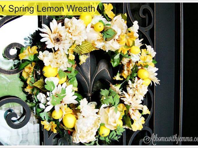 diy spring lemon wreath, crafts, wreaths