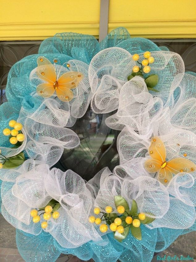 diy mesh spring wreath, crafts, wreaths
