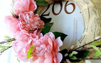 EASY Book Page and Peony Spring Wreath