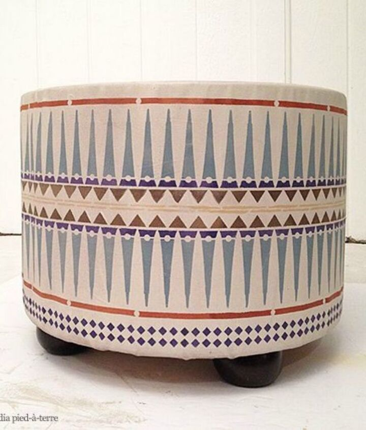 s 12 gorgeous ottoman ideas that will make you want to put your feet up, painted furniture, Cover a hasbeen color with a tribal pattern