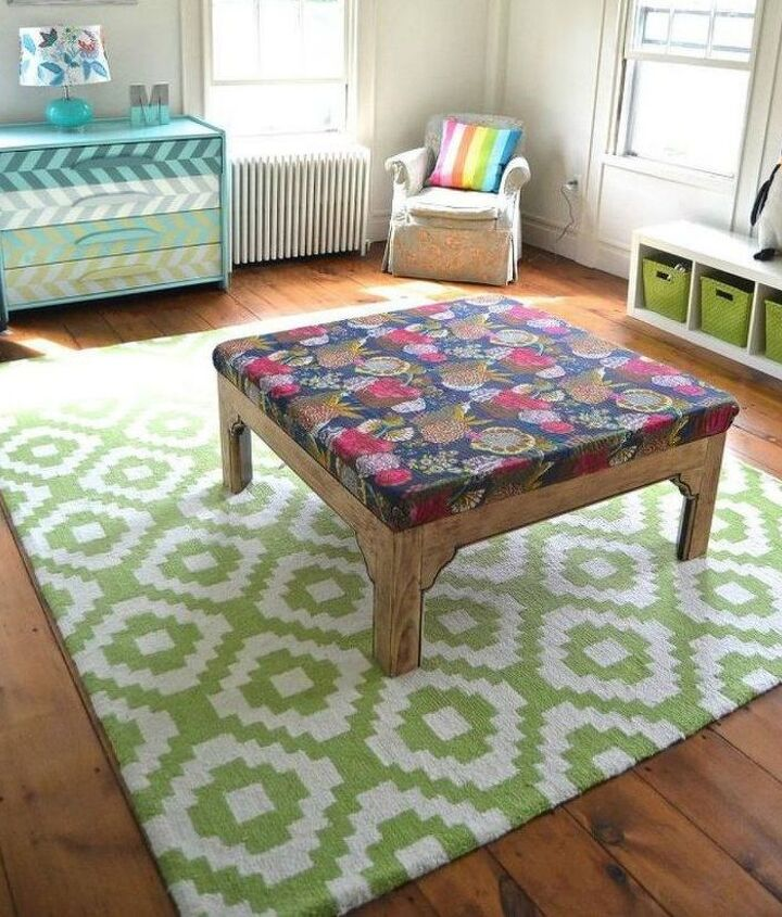 s 12 gorgeous ottoman ideas that will make you want to put your feet up, painted furniture, Reimagine a table as an ottoman with fabric